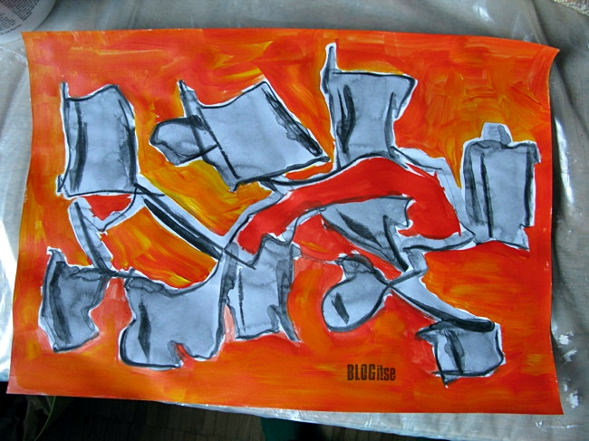abstract Chinese ink and acrylics by BLOGitse