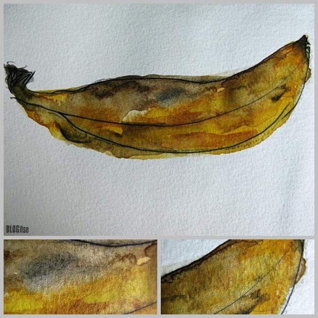 banana watercolor, marker pen by BLOGitse