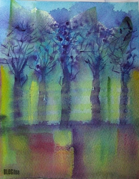 aquarelle painting trees by BLOGitse