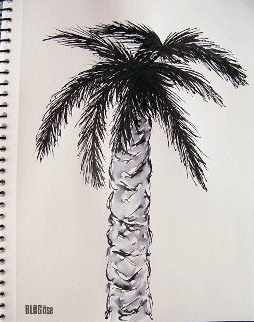 palm tree ink and water by BLOGitse