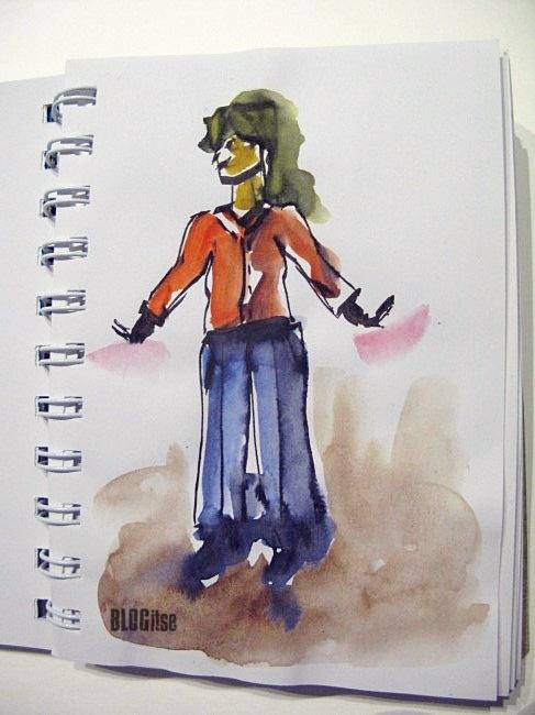 happy girl, watercolor by BLOGitse