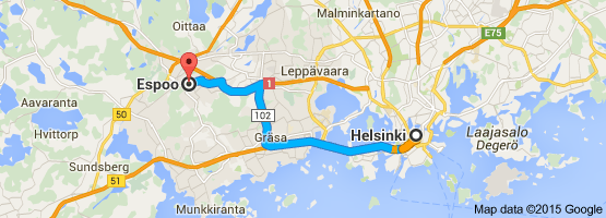 map from Helsinki to Espoo, Finland