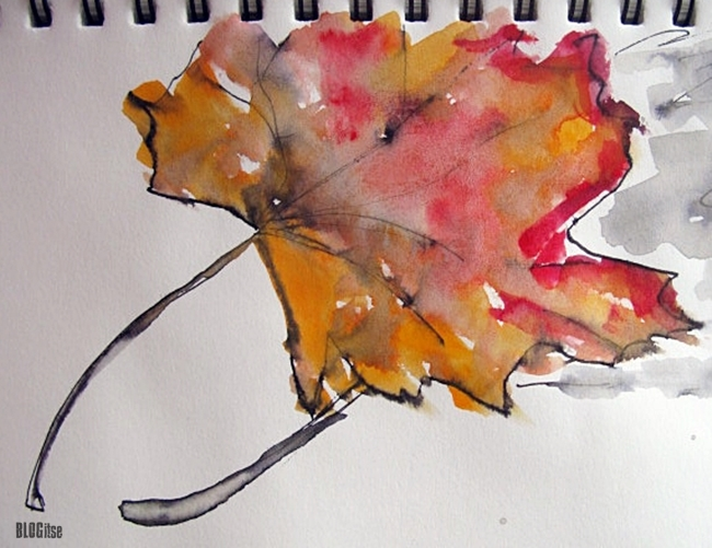 watercolor maple leaf by BLOGitse