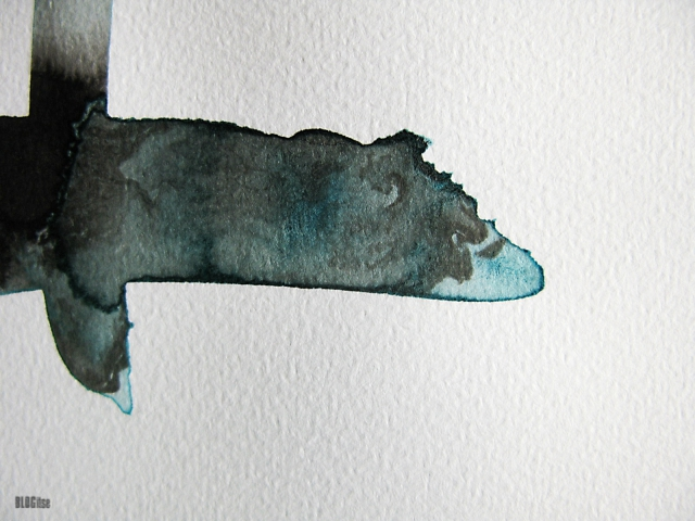 detail of abstract ink and watercolor painting by BLOGitse