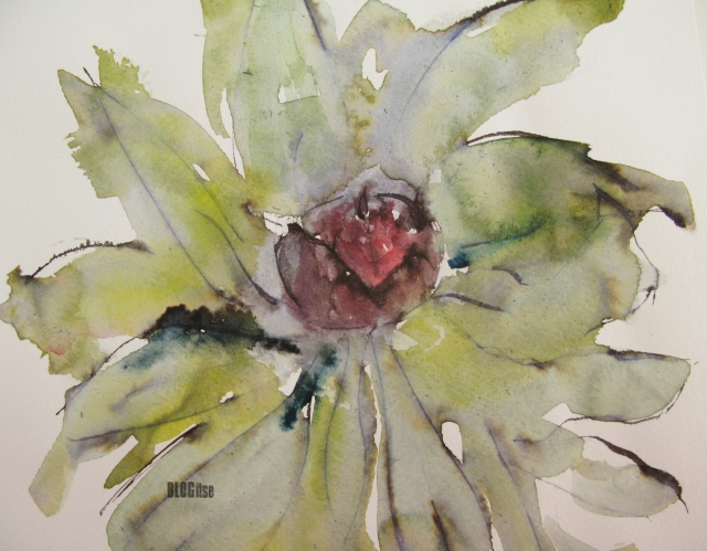 peony bud, watercolor, ink by BLOGitse