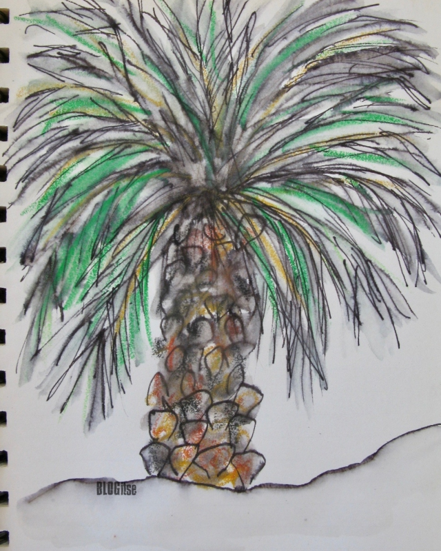 theme art challenge Sept 2017 'let's start' #3 palm tree by BLOGitse